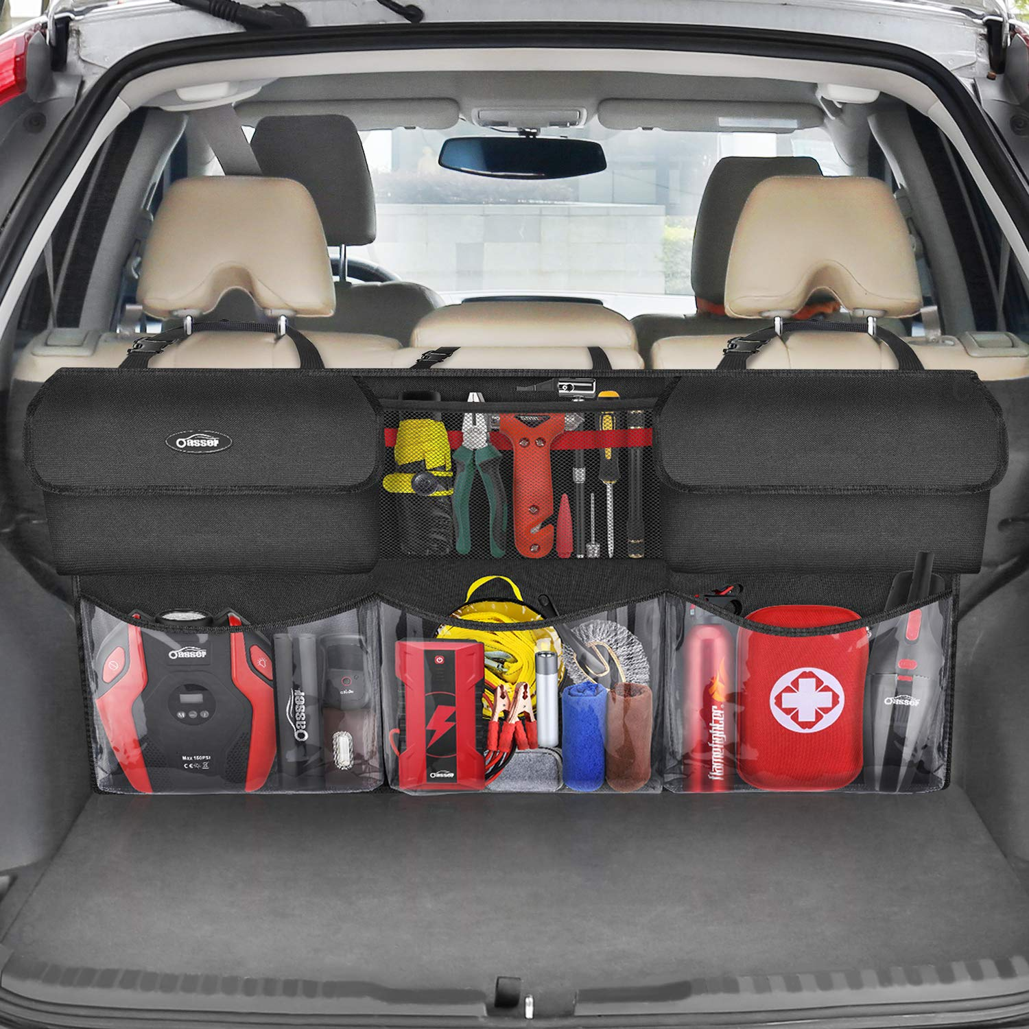Back Seat Organizer Car Trunk Organizer Storage Bag for SUV//MPV//CAN 600D Oxford Cloth with,You The Most Storage Space Possible