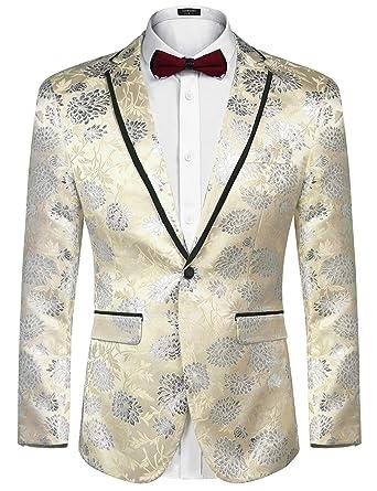 3261e46a2e COOFANDY Men's Floral Party Dress Suit Blazer Notched Lapel Jacket One  Button Tuxedo, Khaki-