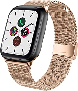 YILED Compatible with Apple Watch Band 40mm 38mm, Adjustable Stainless Steel Mesh Replacement Wristband Sport Loop Band for iWatch Series 5 4 3 2 1 (Rose Gold, 38mm/40mm)