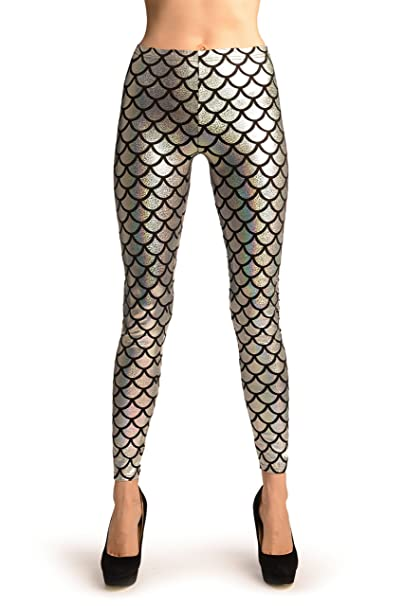 7d72fab091d01 Silver Shiny Gloss Mermaid Scales Leggings - Leggings at Amazon Women's  Clothing store: