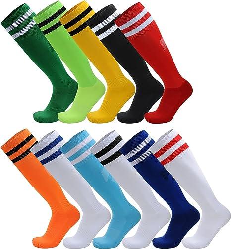 Calcetines a la rodilla deportivos de AD Taylor, con rayas, unisex, para fútbol, rugby y hockey, para adultos y adolescentes, pack de 2 , color naranja, tamaño Big Kid/UK 2.5-6(EUR35-39): Amazon.es: Deportes