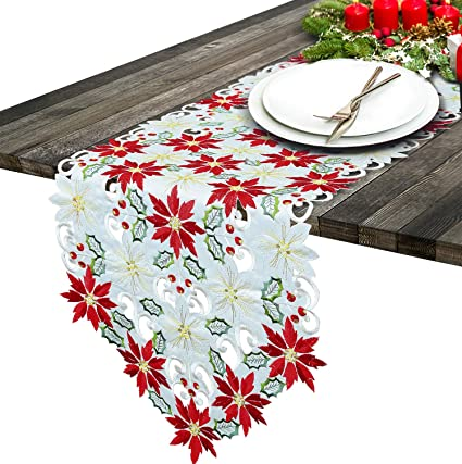 Simhomsen Christmas Poinsettia Table Runner for Holiday Decorations, Embroidered Holly Leaves, Thick Fabric (15 × 107 inch) best Christmas table runners