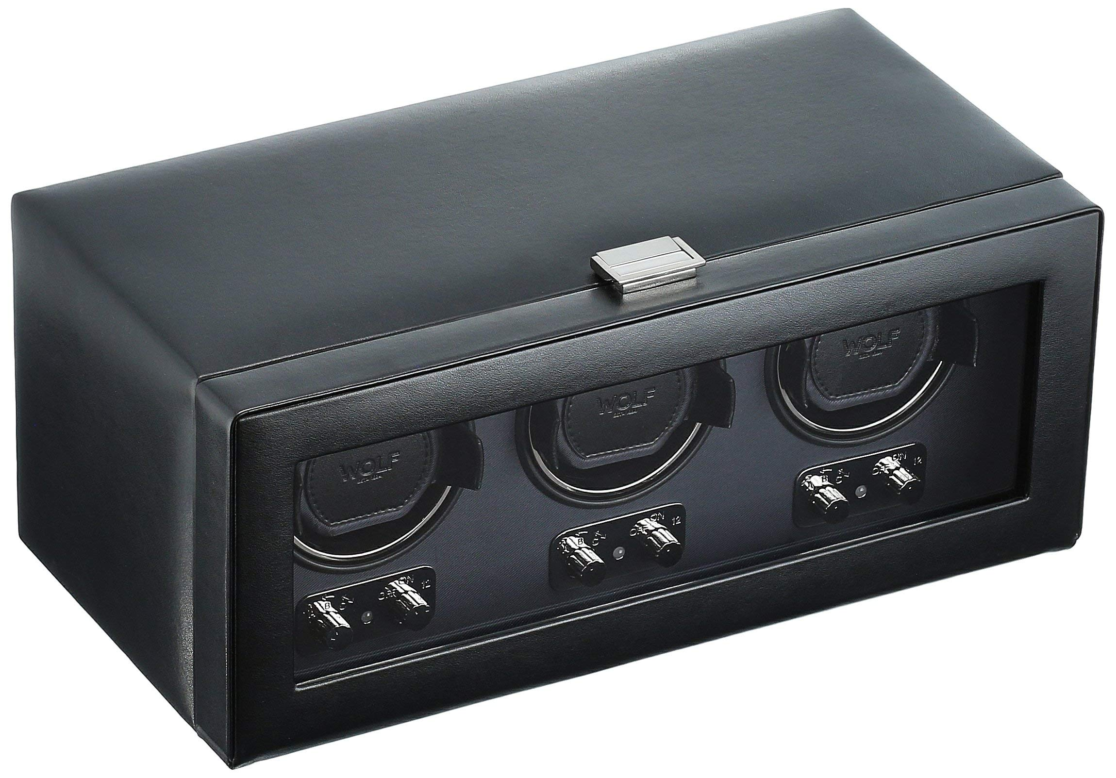 WOLF 270202 Heritage Triple Watch Winder with Cover, Black by WOLF