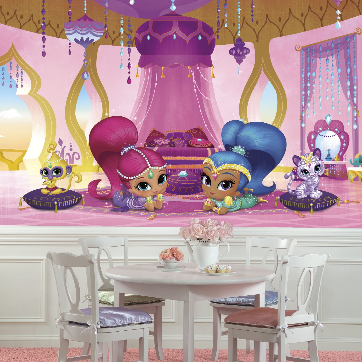 RoomMates JL1386M Shimmer & Shine Genie Palace Xl Chair Rail Prepasted Mural 6' x 10.5' - Ultra-Strippable