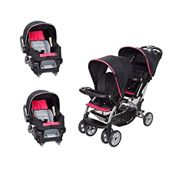 Baby Trend Sit N Stand Double Stroller With 2 Infant Car Seats Optic Pink