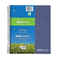 """Roaring Spring Environotes Notebook, Two Subject, 11"""" x 8.5"""", 100 sheets, College Ruled, BioBase Paper, Assorted Earthtone Covers"""