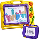 Magnetic Drawing Board For Kids - Erasable Colorful Magna Drawing Doodle Kids Toys; 2 Boards -Magnetic Board Large 15.6 inch- Small 6.7 inch; Writing Sketching Pad - Gift ;Travel Size; Yellow- Purple