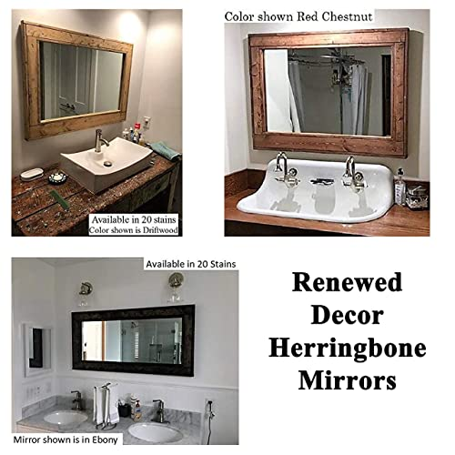 Amazoncom Herringbone Reclaimed Wood Framed Mirror Available In 4