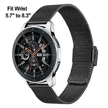 Para Samsung Gear S3 correa de reloj, TRUMiRR 22mm correa de reloj milanesa mejorada botón de acero inoxidable correa de hebilla pulsera de liberación ...