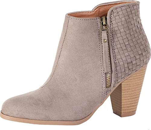 Qupid Women's Nixon-27 Sueded Side Zip Bootie (7 B(M) US, Taupe)