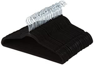 AmazonBasics Velvet Suit Hangers - 50-Pack, Black