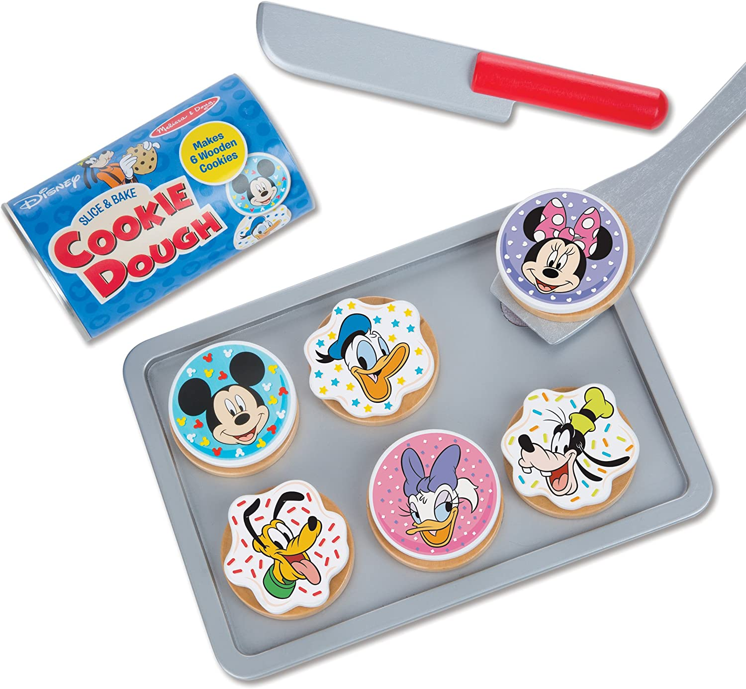 Melissa & Doug Disney Mickey Mouse Wooden Slice and Bake Cookie Set (16 pcs) - Wooden Play Food