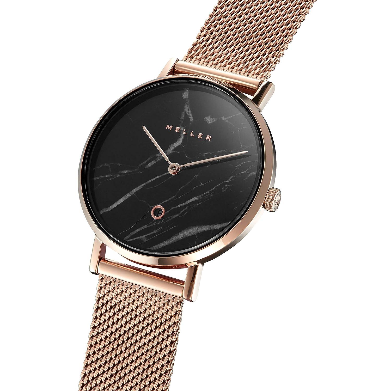 Meller Reloj Analógico para Unisex Adultos de Cuarzo con Correa en Acero Inoxidable W1RMN-2ROSE: Amazon.es: Relojes