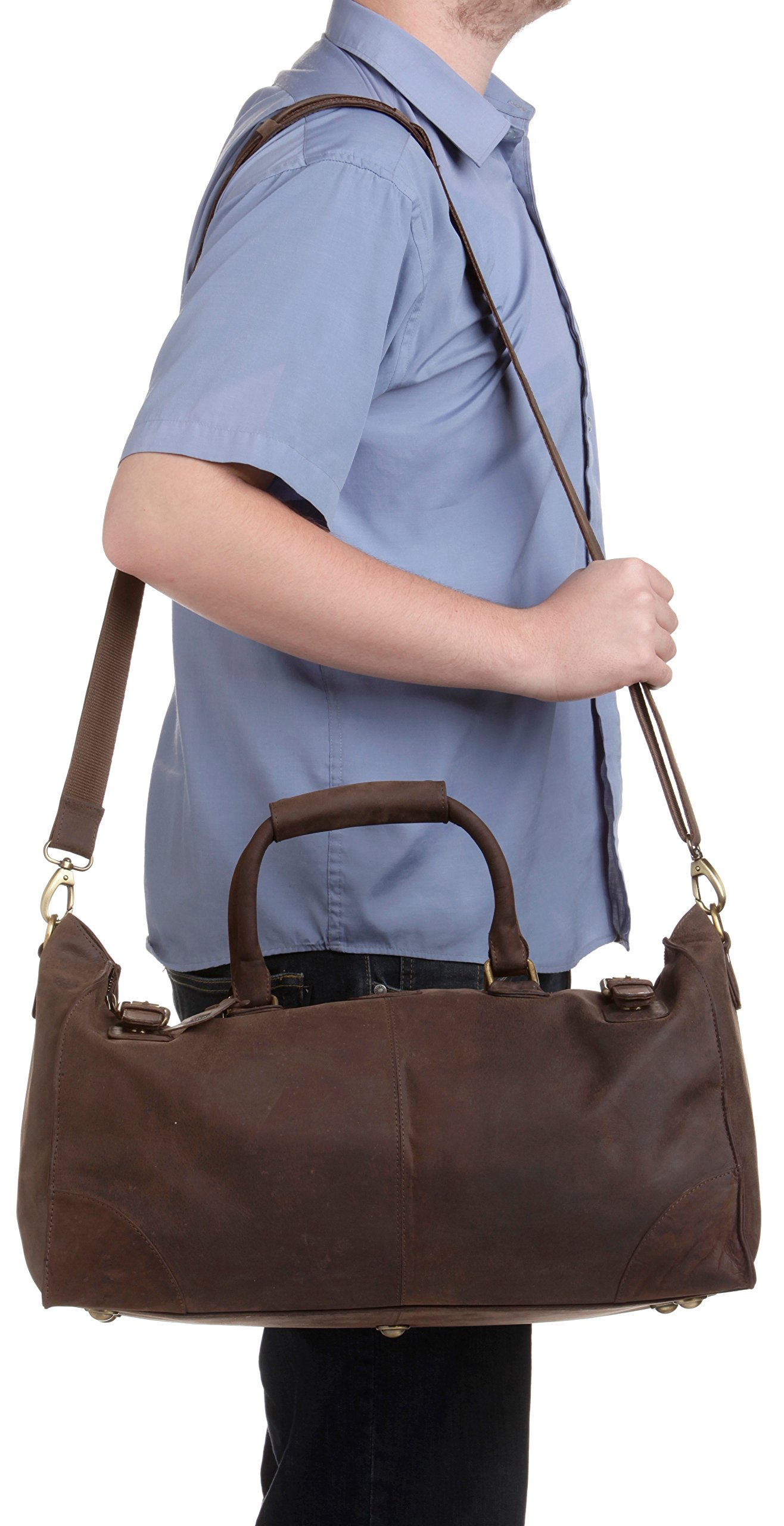 LEABAGS Durham genuine buffalo leather duffle bag in vintage style - Nutmeg by LEABAGS (Image #9)