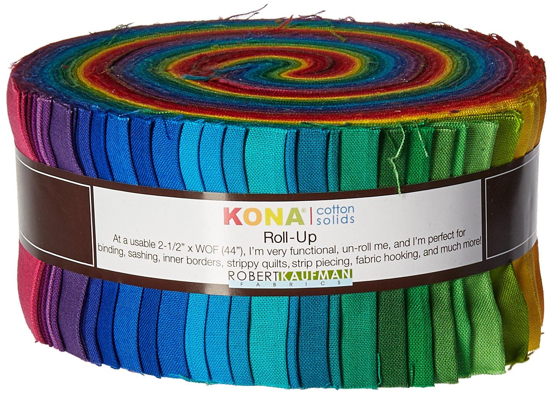 Robert Kaufman 2-1/2in Strips Roll Up Kona Cotton Solids Classic Palette 41Pcs