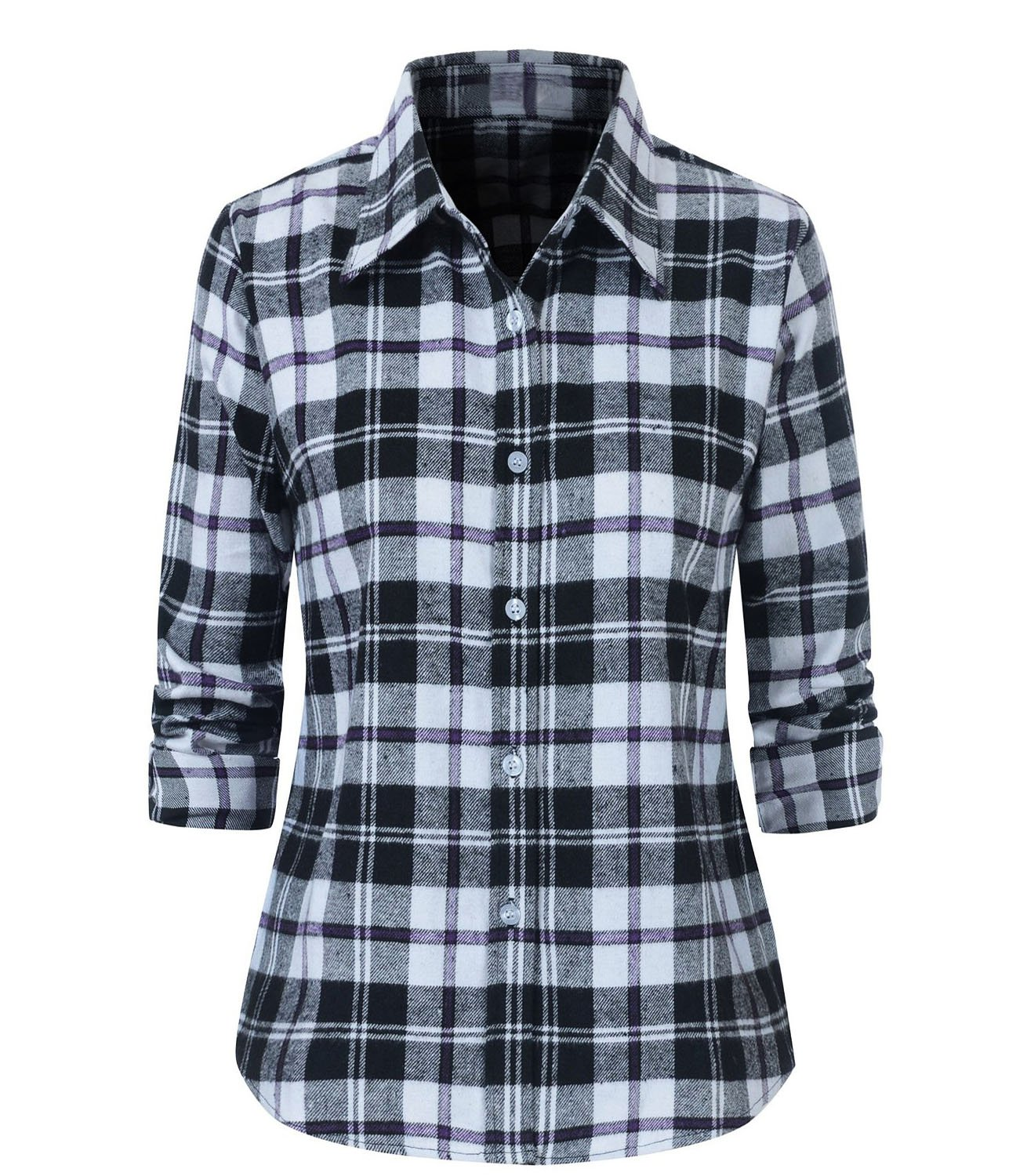 79ced256a09 Galleon - Benibos Women s Check Flannel Plaid Shirt (US Size S Tag Asia XL