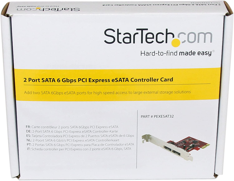 StarTech.com 2 Port SATA 6 Gbps PCI Express eSATA Controller Card - Storage Controller - 2 Channel - eSATA 6Gb/s - 6 Gbit/s - PCIe - PEXESAT32