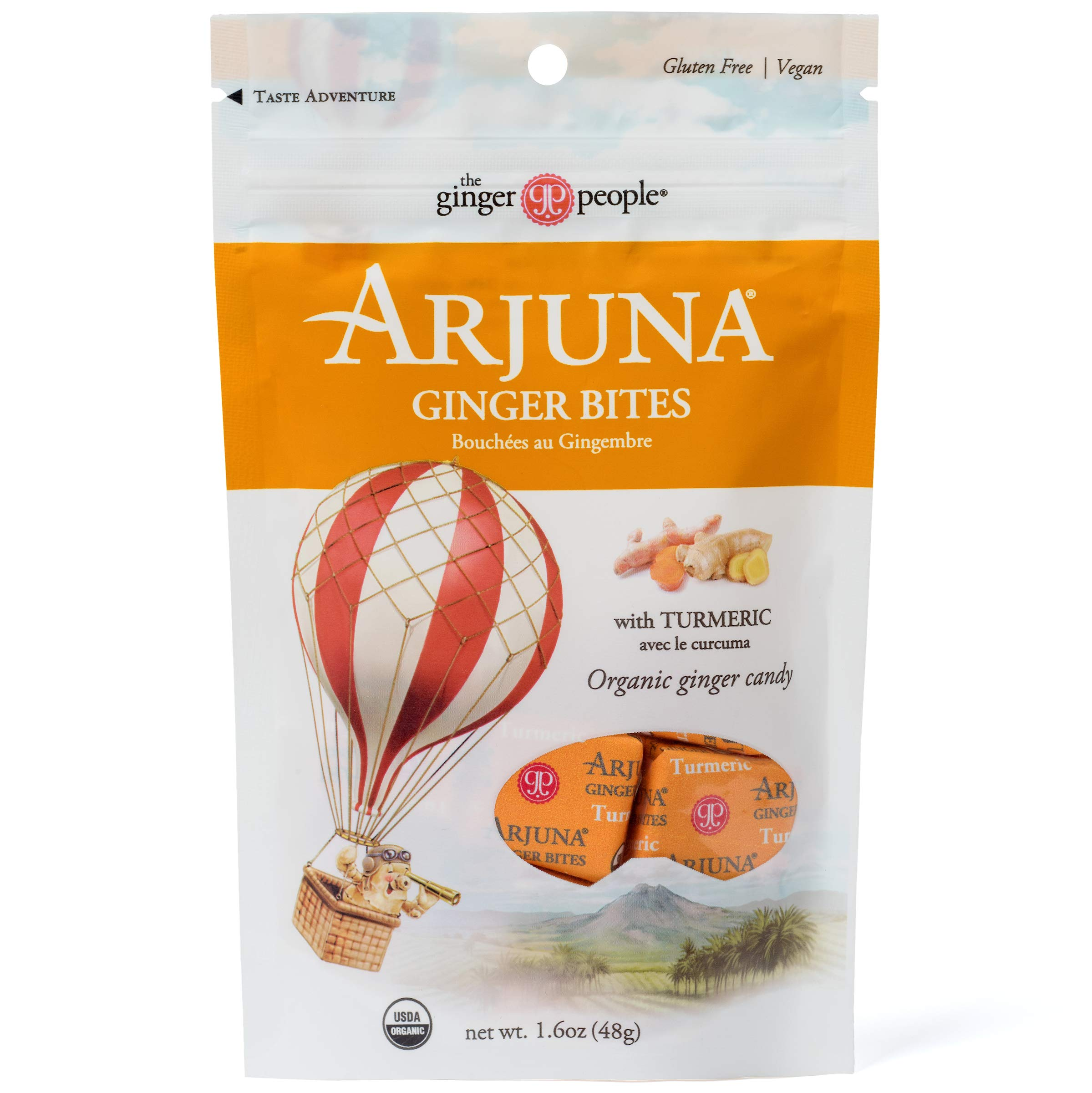 The Ginger People Organic Arjuna Ginger Bites, Turmeric, 1.6 Ounce, Pack of 6 by The Ginger People
