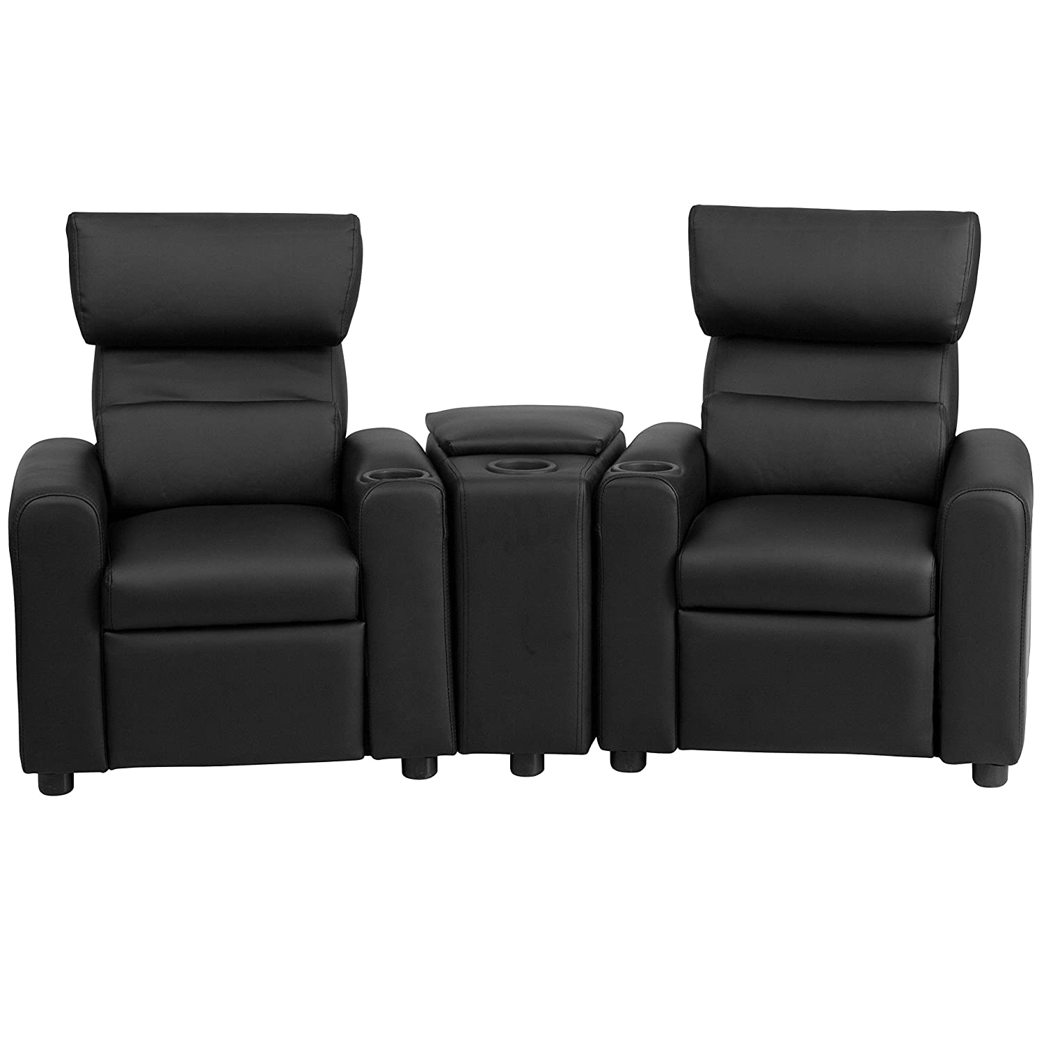 Flash Furniture BT-70592-BK-LEA-GG Kid s Leather Reclining Theater Seating with Storage Console, Black