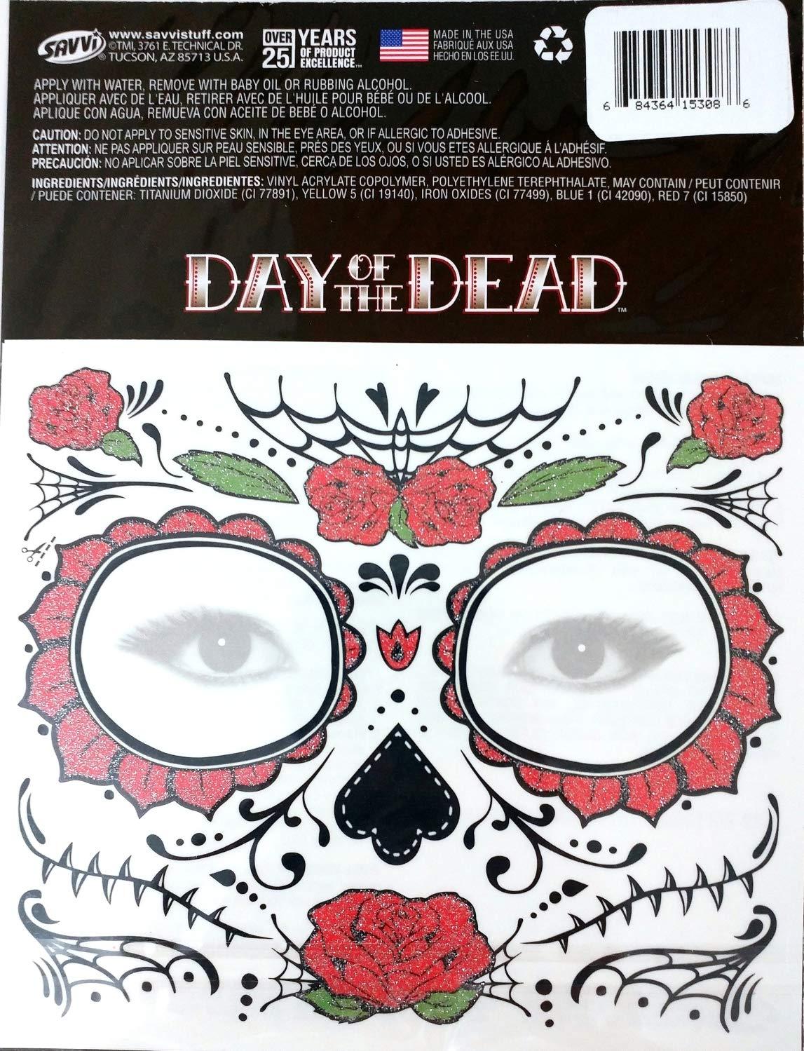 Amazon Glitter Floral Day Of The Dead Sugar Skull Temporary