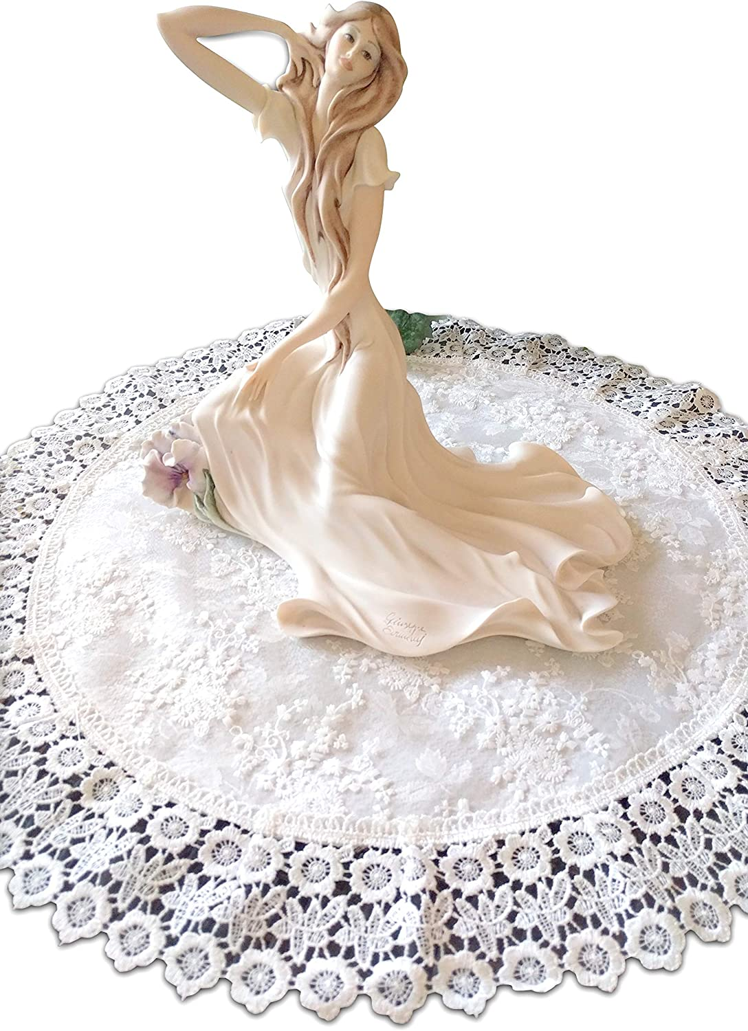 Galleria di Giovanni Doily Large 24 Inch Ivory Princess Round Lace European Dresser Table Scarf Topper