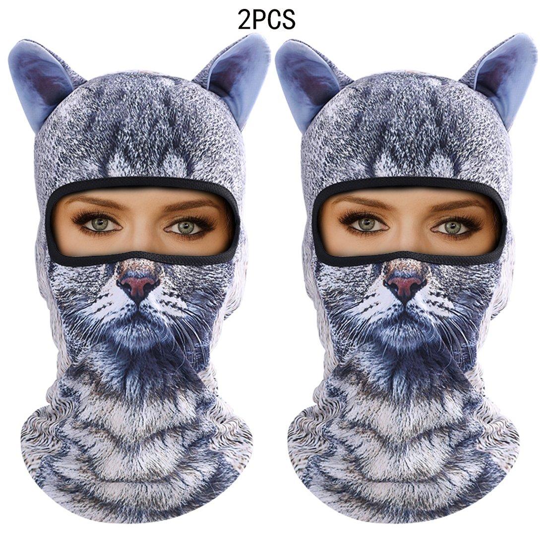 Outgeek Cat Mask, Women Men Balaclava Summer Full Face Hat Animal Ears Sports Helmet Climbing Fishing Cap (2PCS Cats) by Outgeek (Image #1)