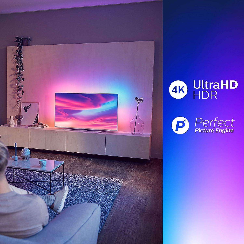 Philips Ambilight 50PUS7354 - Televisor Smart TV 4K UHD, 50 pulgadas,  HDR10+, Android TV, Google Assistant y compatible Alexa, Dolby Vision/Atmos,  peana central aluminio giratoria, color gris: Philips: Amazon.es:  Electrónica