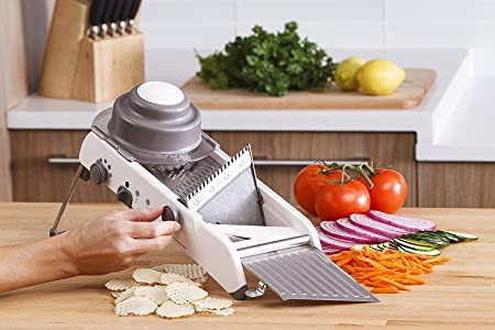 Ad Fresh Multi-Purpose Adjustable Plastic Vegetable Grater Stainless Steel Mandoline Slicer with Holder (White) Graters & Slicers at amazon