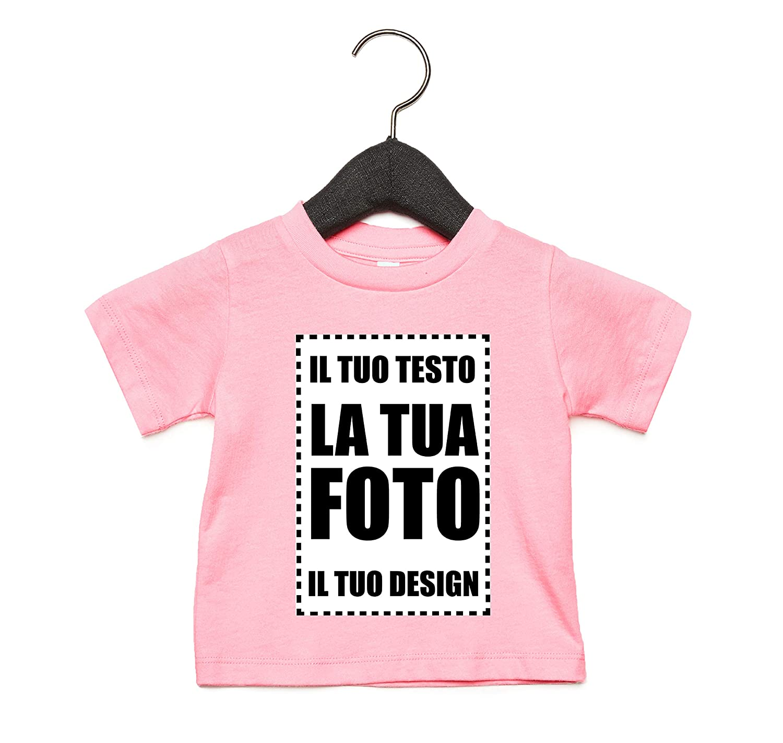 VILLAGESTORE PERSONALIZZA Online con Disegni Foto Grafica Testo Logo Messaggio Nome LA Tua T-Shirt per Neonato con Stampante Diretta per Tessuti Stampa Fronte