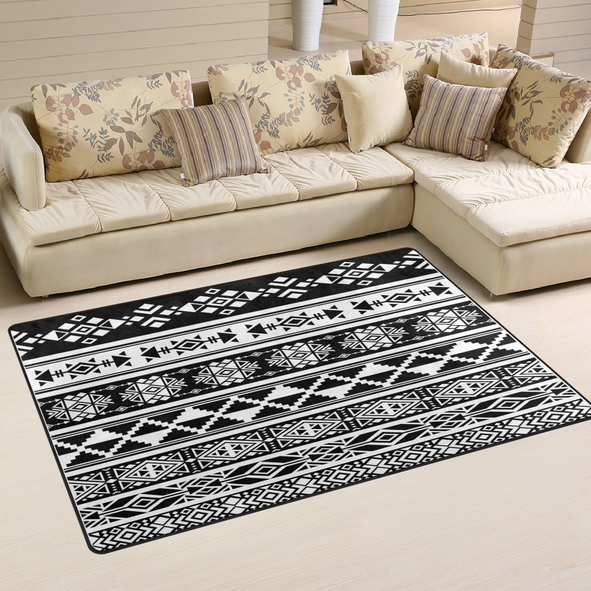 WOZO African and Mexican Aztec American Tribal Area Rug Rugs Non-Slip Floor Mat Doormats for Living Room Bedroom 60 x 39 inches