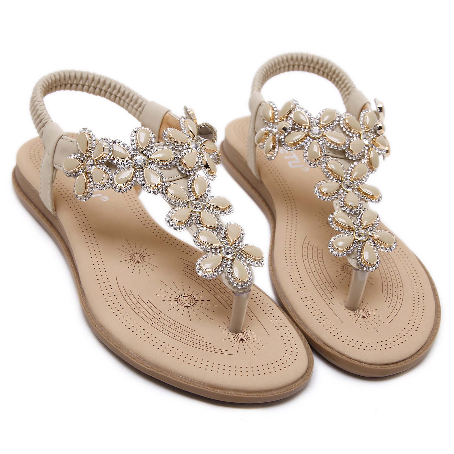 Memorygou Women Flat Sandals Bohemian Style Rhinestone Flower Beaded Strap Gladiator T-Strap Thong Shoes Flip Flops Beige US 4.5