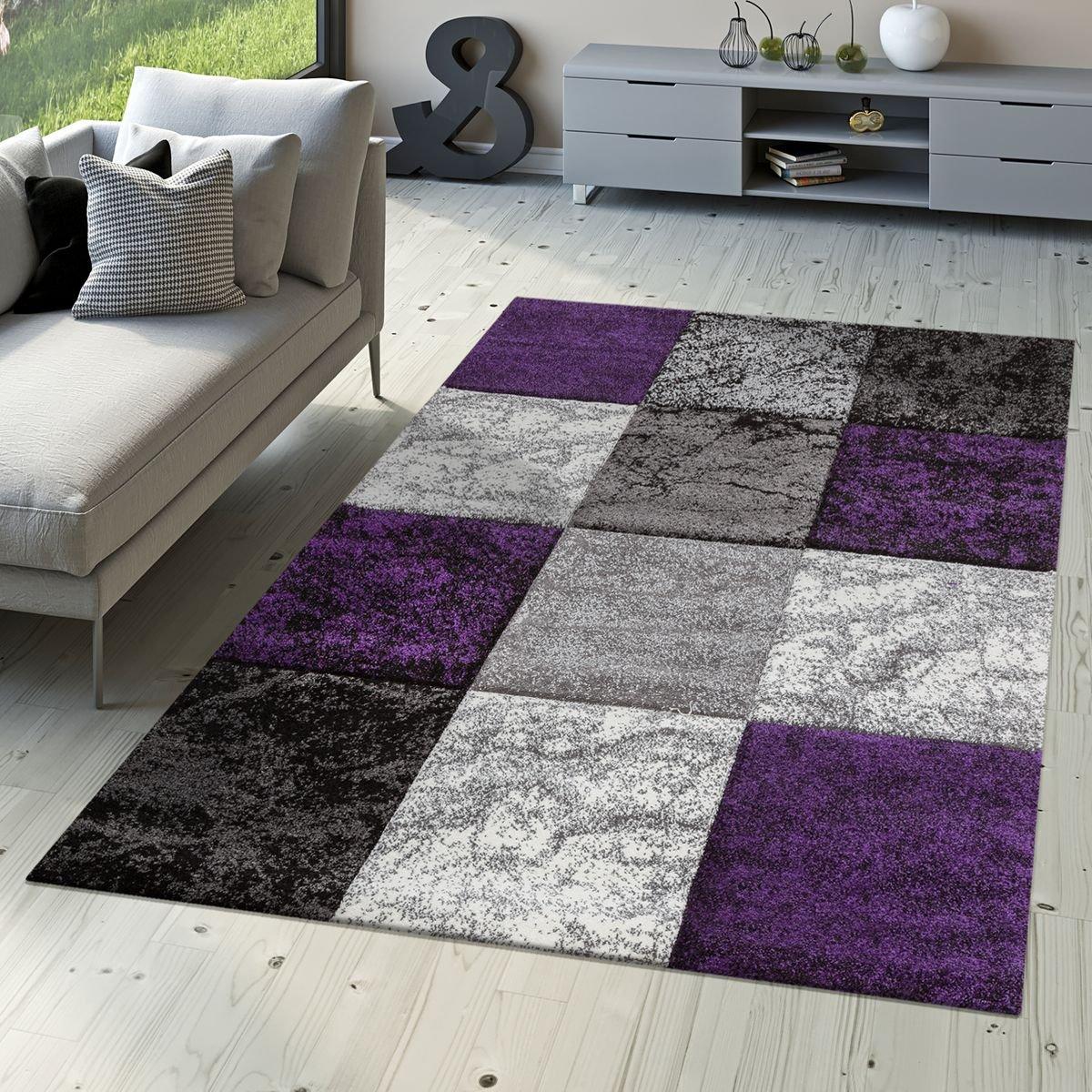 T&T Design Designer Teppich Valencia Modern mit Marmor Optik Kariert Meliert Lila Grau Weiß, Größe 160x230 cm