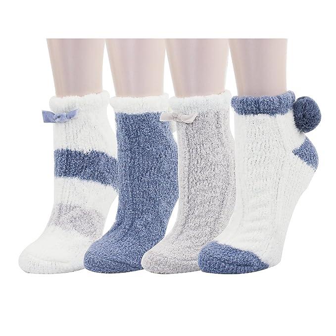 12df06191fec 4 Pack Women Indoors Anti-Slip Winter Fuzzy Slipper Socks with Grips ...