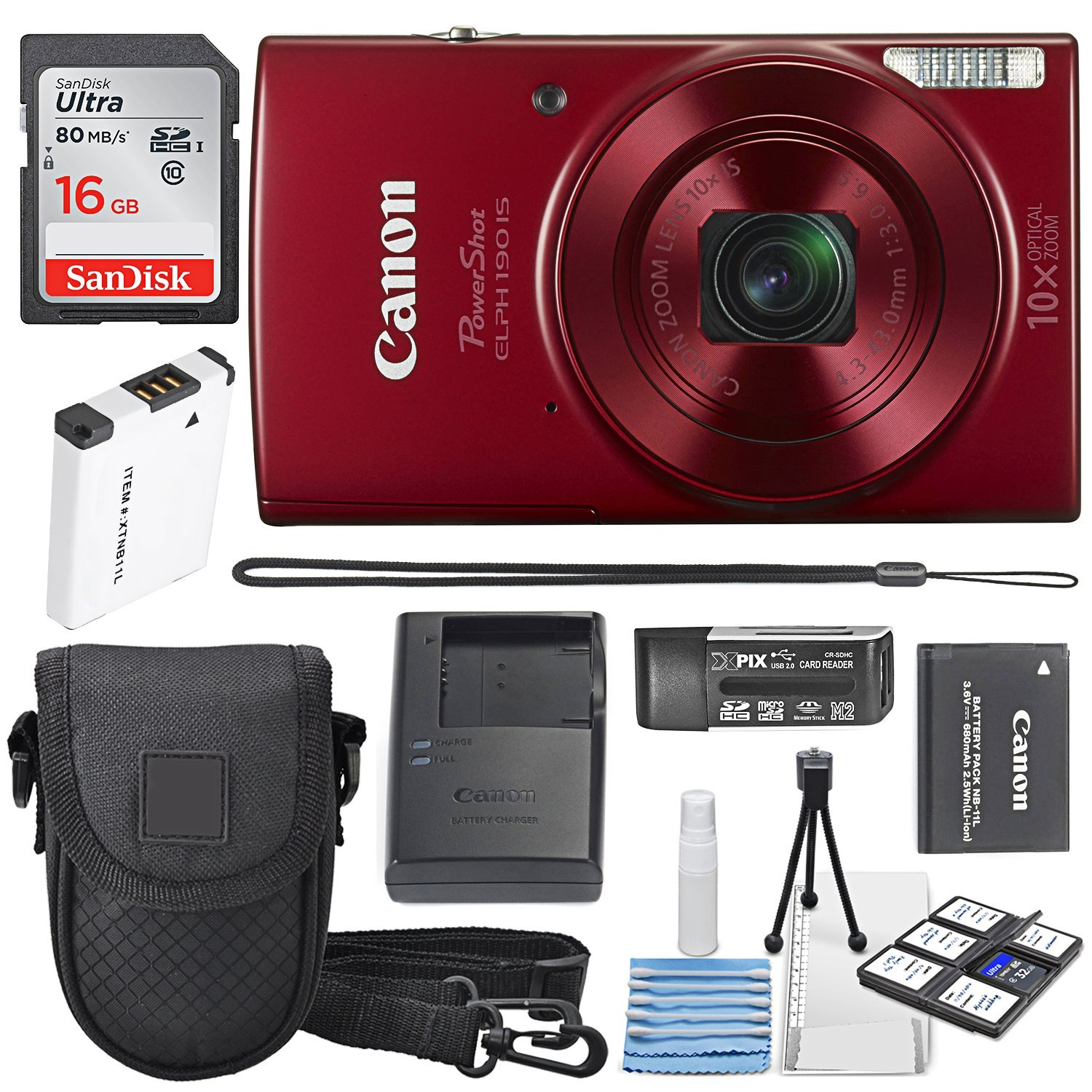 Canon PowerShot ELPH 190 IS Digital Camera (Red) with 10x Optical Zoom and Built-In Wi-Fi with 16GB SDHC + Replacement battery + Protective camera case Along with Deluxe Cleaning Bundle by Canon