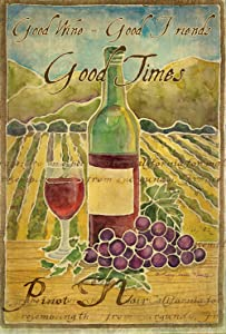Toland Home Garden Pinot Noir 12.5 x 18 Inch Decorative Wine Bottle Vineyard Grape Good Times Friends Garden Flag
