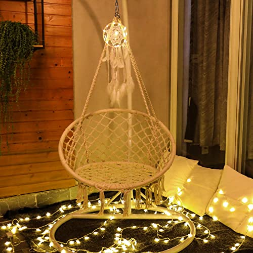 Sonyabecca Hammock Chair with LED Dream Catcher Childrens Adults Hanging Chair Not Included Stand, Cushion