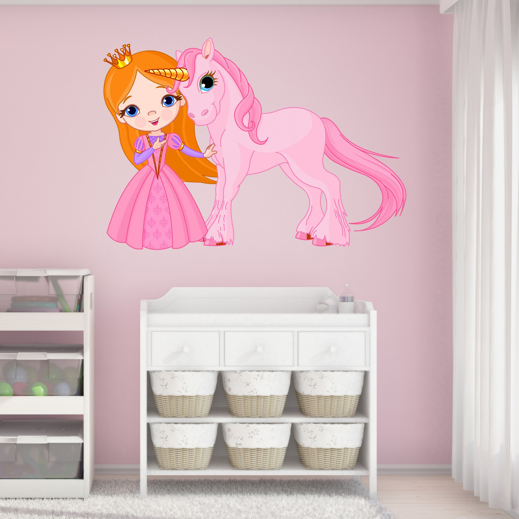 Princess and Unicorn Wall Decal by Style & Apply - Wall Sticker, Vinyl Wall Art, Home Decor, Wall Mural - SD3057 - 59x41