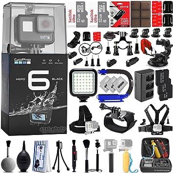 GoPro Hero 6 Black 4K 1080P Digital Camera w/ 64GB - 42PC Sport Action  Bundle / Window Mount - Helmet Mount - Chest Mount - Handlebar Mount - 360