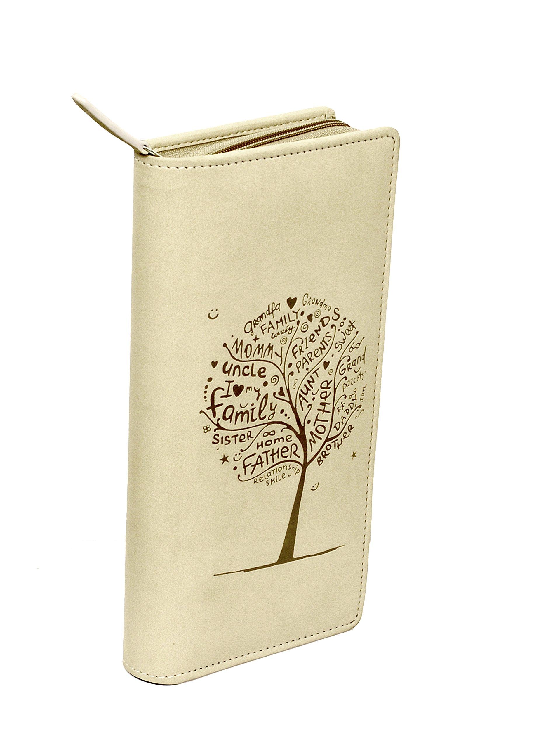 Sukeshcraft Tree. RFID Safe Passport Wallet- 8 Slots, (Beige)