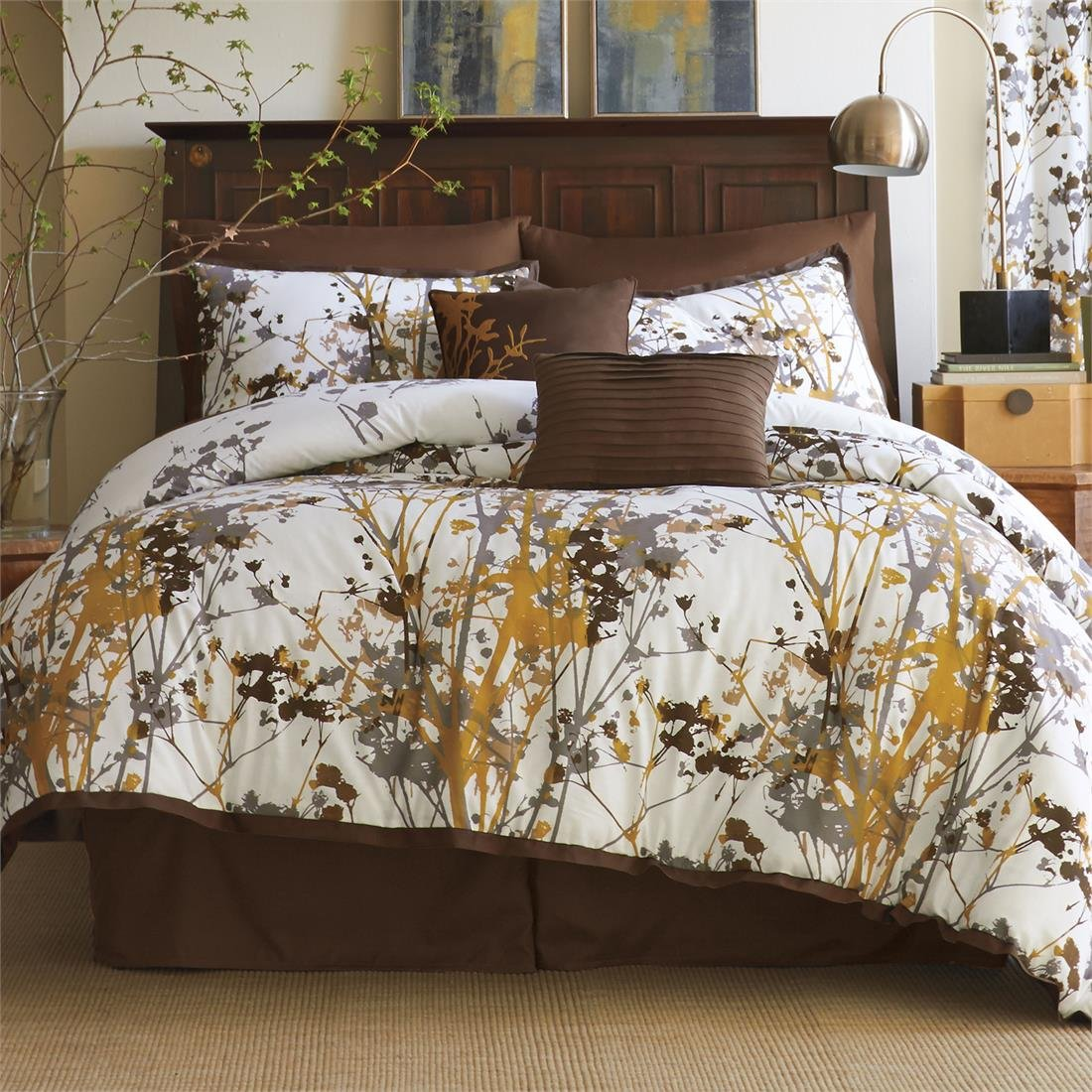 Brylanehome Funky Floral Oversized Multi-Pc. Comforter Set (Orange Grey, Queen
