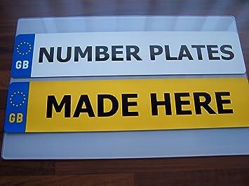 Pair Standard Gb Euro Number Plates 100 Mot Compliant Car Van