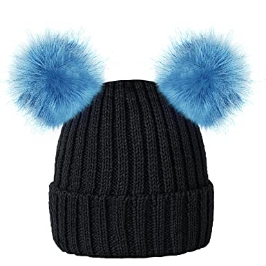 ROCKJOCK Kids Girls Colourful Warm Winter Knitted Beanie Hat with Twin Faux Fur  Pom Pom 6c5167d15f7