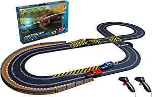 Scalextric American Police Chase AMC Javelin vs Dodge Challenger Police Car 1:32 Slot Car Race Track Set C1405T