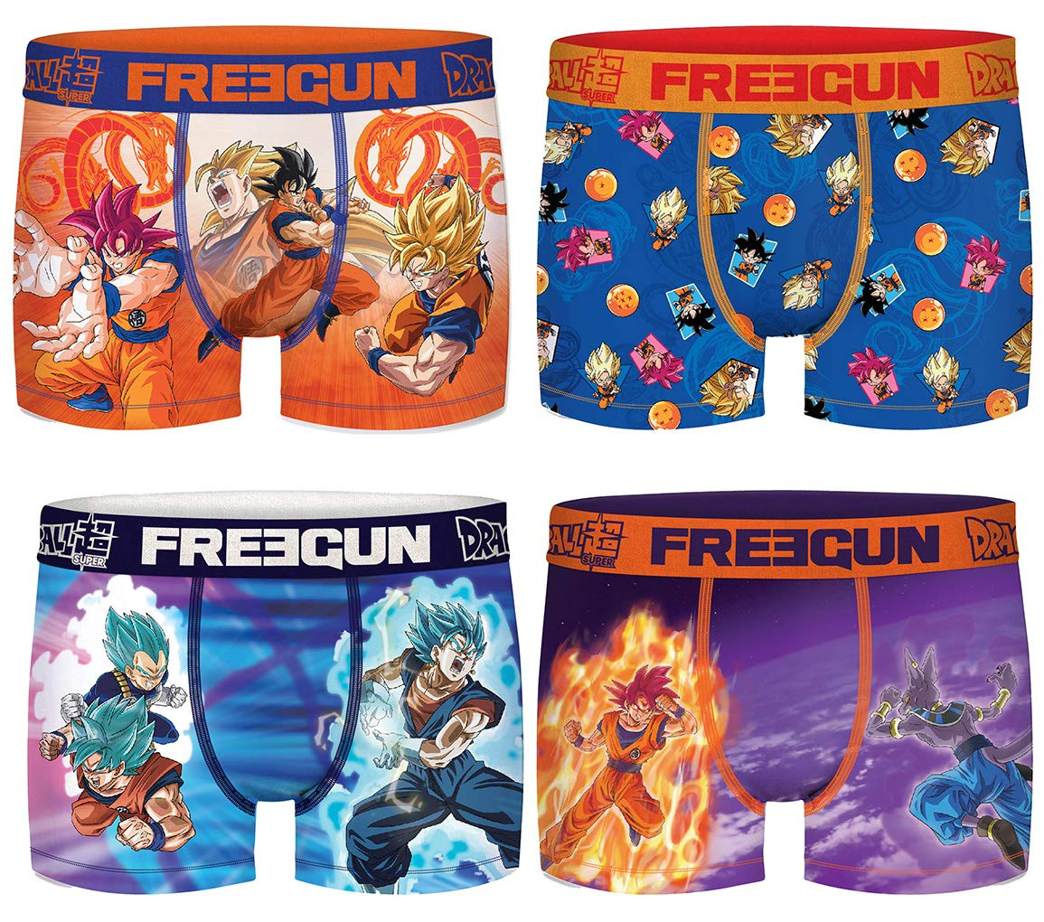 FREEGUN. Boxer Dragonball Z for Boys in Microfiber - Assortment Models Photos According to Arrivals- (6/8 Years, Pack of 4)