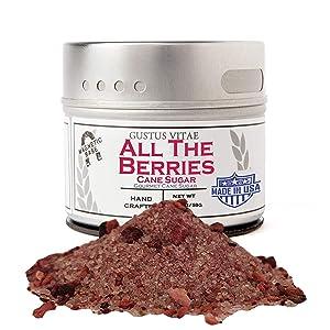 Gustus Vitae - All The Berries Cane Sugar - Artisanal Infused Sugar - 1:1 Replacement For Plain Sugar - Gourmet Sweetener - All Natural - Small Batch - Magnetic Tin
