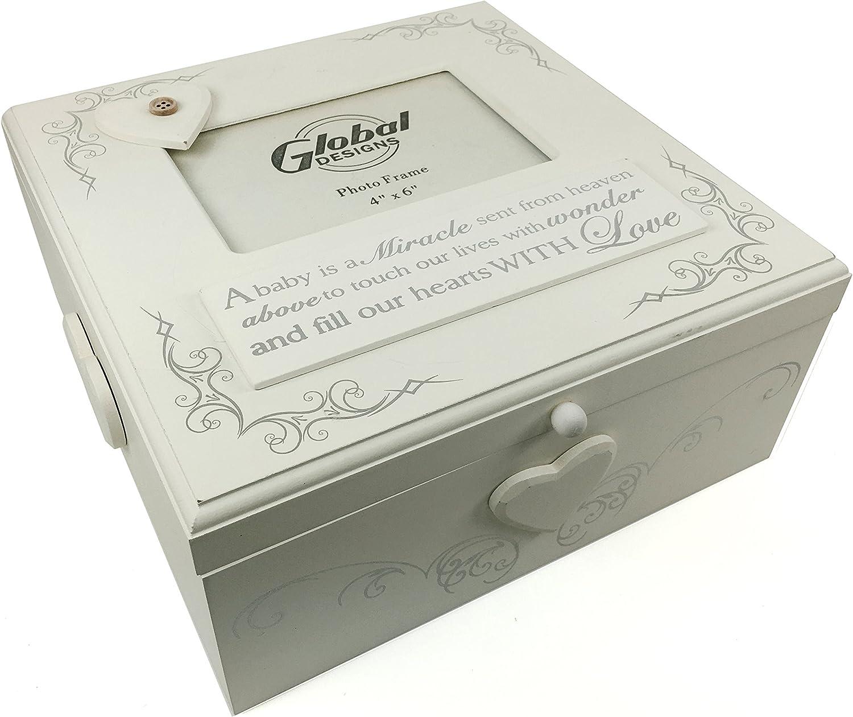 Grande Shabby Chic – Soporte de fotos Memories caja de recuerdos con regalo: Amazon.es: Bebé