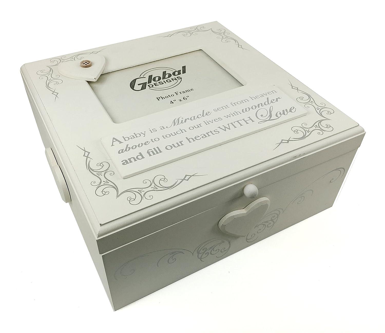 Large Shabby Chic Baby Memories Keepsake Box with Photo holder Gift ukgiftstoreonline 606993147090