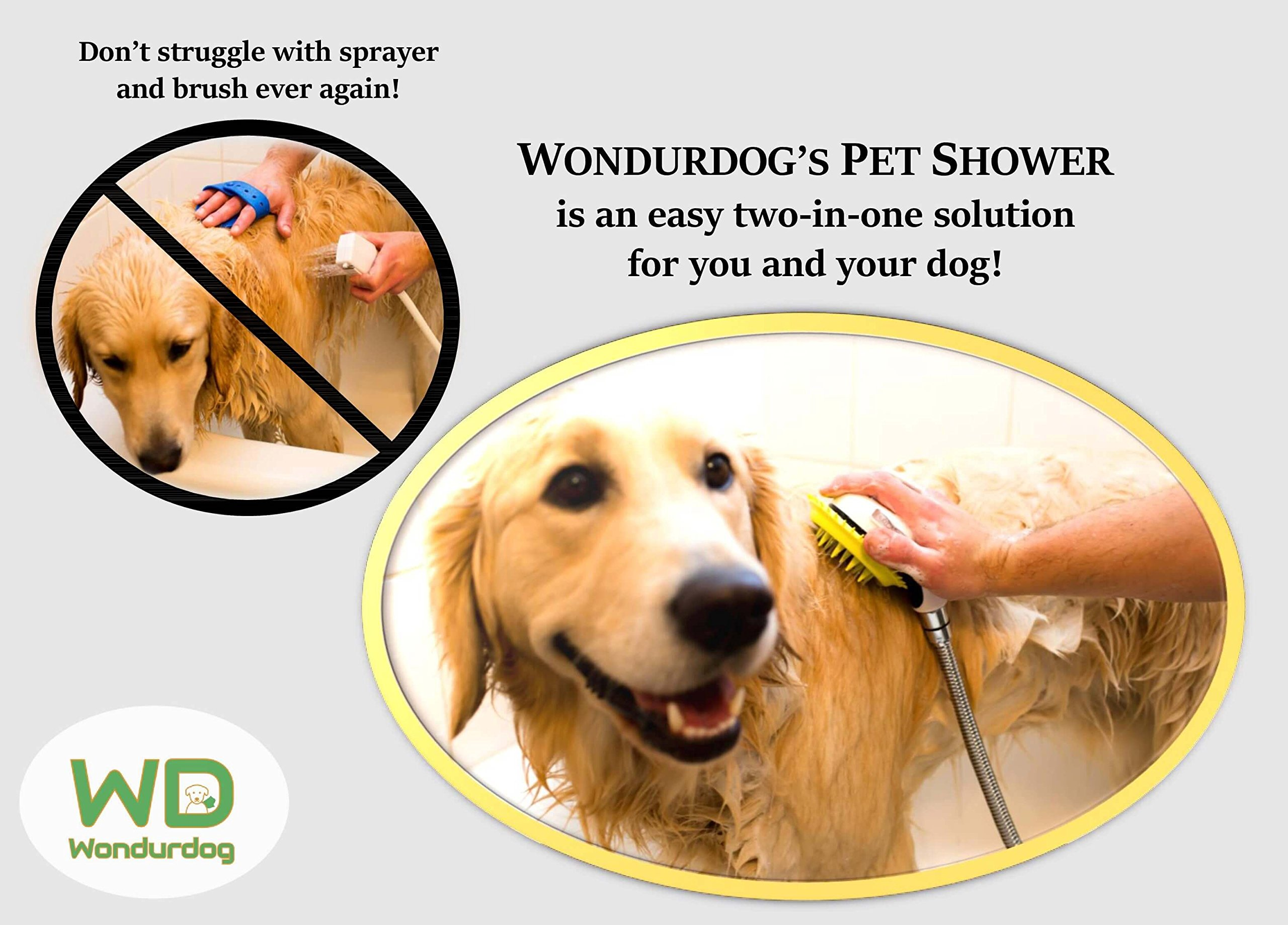 Details about All-In-One Quality Dog Shower Kit | WATER SPRAYER BRUSH  RUBBER SHIELD | 8 ft