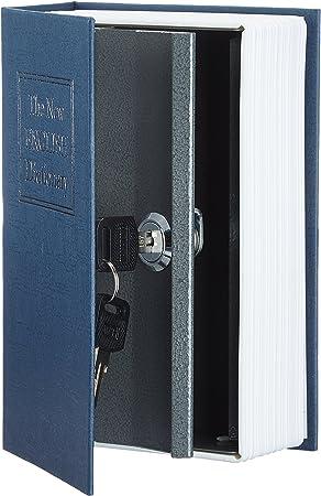 AmazonBasics - Caja de seguridad en forma de libro - Cerradura con llave (pequeña) - Azul: Amazon.es: Bricolaje y herramientas