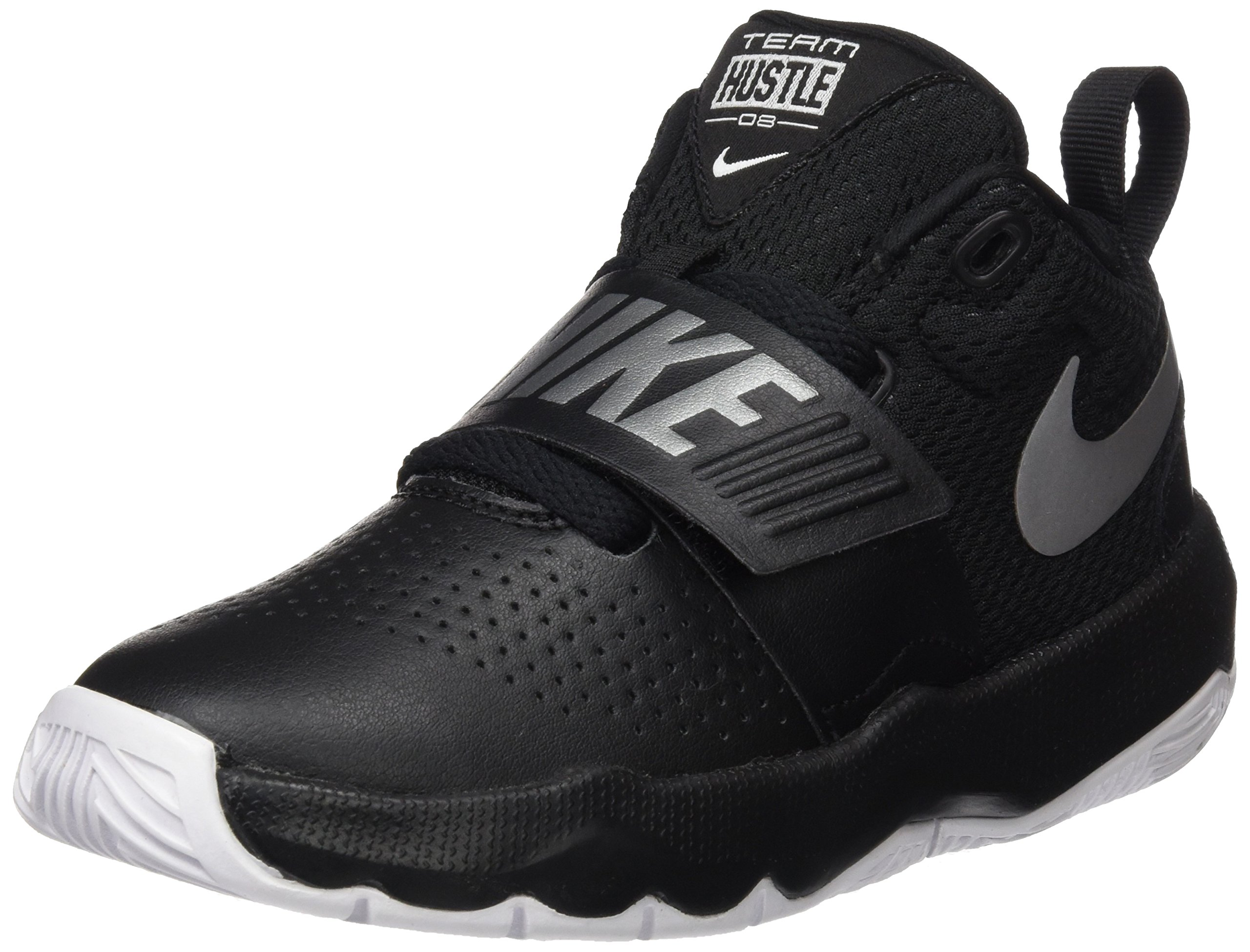 NIKE Boys' Team Hustle D 8 (PS) Basketball Shoe, Black/Metallic Silver-White, 13C Regular US Little Kid